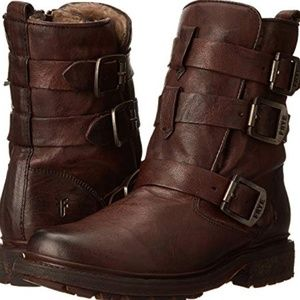 NWT! Frye Valerie Strappy Boots Dark Brown